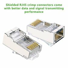 20 x Shielded RJ45 Crimp Connector Modular Plug 8P8C CAT6 CAT6a STP LAN Network