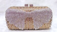 Gold Clear Butterfly Pattern Handmade Austrian Crystal Evening Cocktail Bag