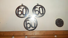 3 Vintage Large Number Year  60  Rhodium Over Brass Disc Solid Charms