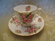 New Chelsea Staff English Bone China Demitasse Cup/Saucer in Pink Dogwood Design