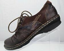 Earth Linden Oxford Shoes - Dark Brown Crinkled Leather Lace Up Women's Size 6B