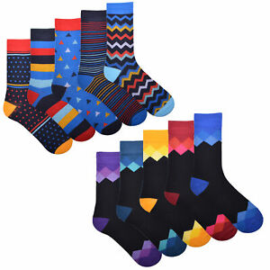 Mens 5 Pack Design Socks Funky Coloured Cotton Fashion Stripes Socks Size 6-11
