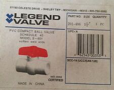 "Legend 1 1/4"" PVC ball valve 201-406 solvent weld ends NEW in Box"