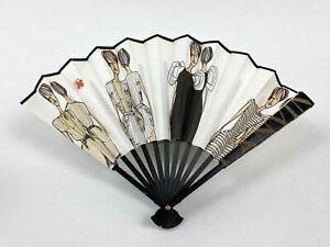 Lanvin New Auth Black White Fashion Paper Fan Reversible w Satin Storage Pouch
