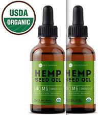 USDA ORGANIC PURE Hemp Oil for Pain Relief, Stress, Sleep 2x500mg (1000 mg)