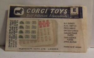 1960s Corgi Toys Self Adhesive accessories INCOMPLETE 1464 PACK E