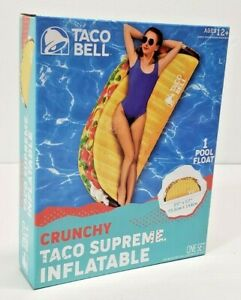 """2021 LIMITED EDIT TACO BELL INFLATABLE POOL FLOAT CRUNCHY TACO SUPREME 29""""x57"""""""