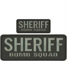 SHERIFF BOMB SQUAD embroidery patches  4x10 and 2x5 hook grey letters
