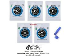 5 SET MUTA CORDE MARTIN MA170 Bronze Extra Light CHITARRA ACUSTICA FOLK 010-047
