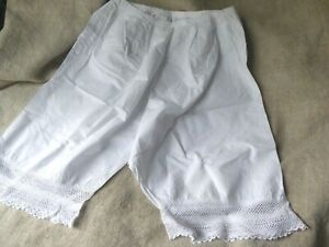 ANTIQUE FRENCH KNICKERS BLOOMERS HAND WORKED EDGING.