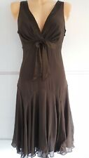 Ladies Ted Baker Silk Chiffon Brown Evening Party Occasion Dress Size 2 UK 10