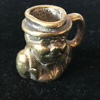 Victorian Solid Cast Brass Minature Toby Jug Ornament Character Face Tankard
