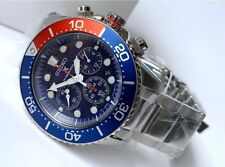 SSC019P1 Prospex Diver Solar Chrono Blue-Red Bezel Silver Steel Watch for Men