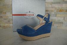 PRADA 40 talla Sandalias Con Plataforma Zapatos Sisal azul blu NUEVO