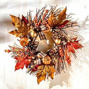 LED Dekokranz Herbstkranz Blumenkranz Tischkranz Türkranz 30 cm Herbstdeko