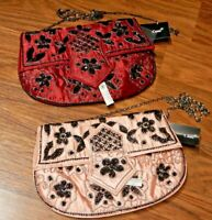 NWT CAMI black beaded evening bag purse clutch in pink or red satin 90s 1C