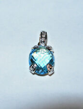 14kt. Yellow Gold Blue Topaz Diamond Pendant Reduced  New #2518