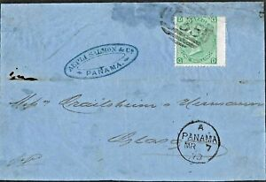 GB Used Abroad in PANAMA COLOMBIA C35 1/- green pl.6. On cover front