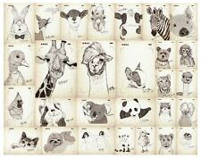 Lot Of 56 Lovely Cute Animals Retro Postcards Message Cards Children Kid Gifts