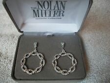 NOLAN MILLER Earrings BIG GLAMOUR Dangle Pierced Silvertone Austrian CRYSTALS