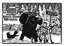 FELIXMÜLLER Original Holzschnitt NEUJAHRSGRUSS SÖHN 674