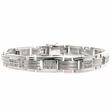 14k Brushed White Gold Men's Diamond Bracelet 1.40 TCW Gold Mens Bracelet