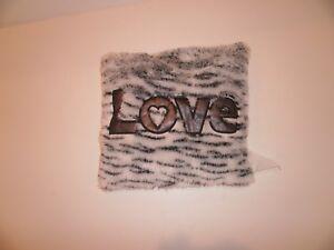 Square Pillow Black and  White GIRL'S PLUSH SPARKLE STRIPES Zebra print Love