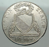 1813 B SWITZERLAND Swiss Canton of ZURICH SHIELD 40Batzen Silver Coin i84954