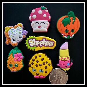 SET of 7 Shoe Charms for Crocs SHOPKINS Kooky Cookie Lippy Mushroom Fairy Crumbs