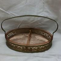 Vintage Pink Glass Vegetable/Candy Serving Metal Basket Oval