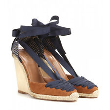 AQUAZZURA suede leather Malibu wedge heel espadrilles ankle wrap shoes 40.5 NEW