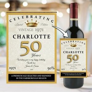Personalised Happy Birthday Wine Champagne Bottle Sticker Label N158 Any Age
