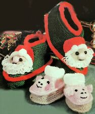 KNITTING PATTERN To Make Novelty FATHER CHRISTMAS / SANTA & PIG BOOTS SLIPPERS
