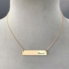 Rose Gold Finished Dainty Chain BLESSED  Cursive Engraved Bar Pendant Necklace