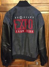 The X Files Expo Tour 1998 Intrigue Grey Gray Wool Black Leather Jacket Men's L
