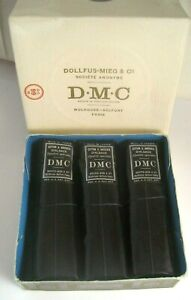 Vintage DMC 3 WRAPPED COTTON EMBROIDERY THREAD SNOW WHITE #16 in ORIG BOX France