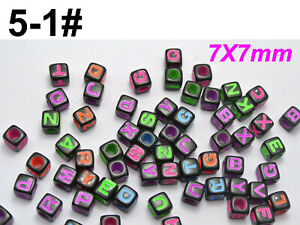 200 Assorted Alphabet Letter Cube Pony Acrylic Beads 7X7mm Various Style Crafts