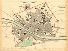 FLORENCE FIRENZE. Antique town city map plan. Key buildings profiles. SDUK 1844