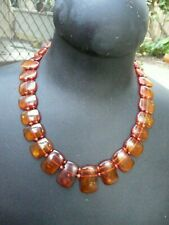 ART DECO  CLEAR WITH INCLUSIONS RUSSIAN  AMBER  HANDCUT   NECKLACE  琥珀色