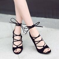 Women's Black Lace Up Heels Shoes Suede Pointy Toe High Sandals Strappy Party
