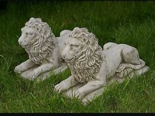 PAIR Of LIONS On PLINTHS Patio Stone Bespoke Handmade Ornament Statue Pillar Cap