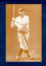 BABE RUTH, Yankees (sepia/lighter~white back) An Exhibit Card 1980 Hall of Fame