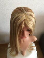 Perücke Echthaar - Mix, blond/braun Strähnen lang glatt neu 27/613