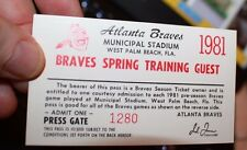 Atlanta Braves 1981 Spring Training Pass West Palm Beach Municipal Stadium