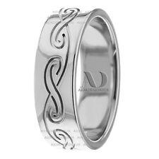 14K White Gold 7mm Wide Celtic Wave pattern Wedding Ring