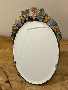 Antique Oval Beveled Barbola Mirror with Easel