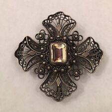 Continental Silver Maltese Cross Pendant Brooch Topaz Glass Art Nouveau .43 oz