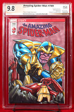 THANOS vs. IRON MAN PGX 9.8 Orignal Sketch Cover by BRIAN LACY and STEVE LYDIC!!