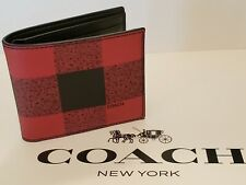 COACH MEN'S 3-IN-1 PVC LEATHER WALLET IN RED AND BLACK CHECKERED MULTI - 37352