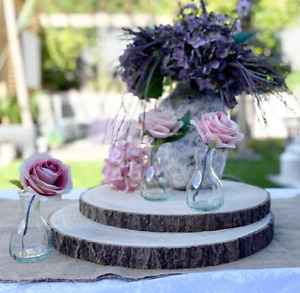 Large Natural Wood Log Slice Tree Bark Chic Wedding Table Centrepiece Cake Stand
